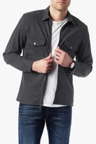 7 For All Mankind Zip Front Shirt Jacket In Heather Charcoal