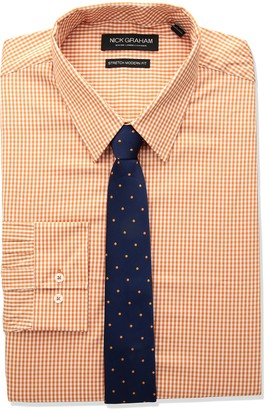 Nick Graham Men's Modern Fitted Mini Gingham Stretch Shirt with Solid tie