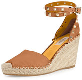 Valentino Rockstud Leather Espadrille Wedge