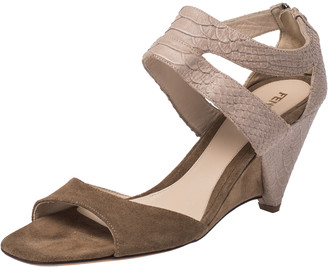 Fendi Beige Suede And Python Embossed Leather Wedge Ankle Strap Sandals Size 40