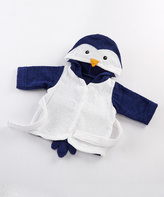 Baby Aspen White & Blue French Terry Penguin Hooded Robe - Infant