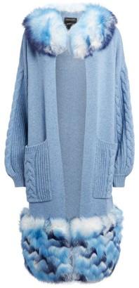Izaak Azanei Fur-Trim Cable-Knit Cardigan