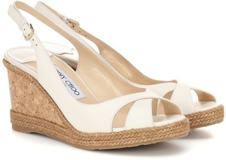 Jimmy Choo Amely 80 leather wedge sandals
