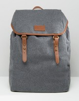 Asos Backpack In Gray Melton With Brown Straps