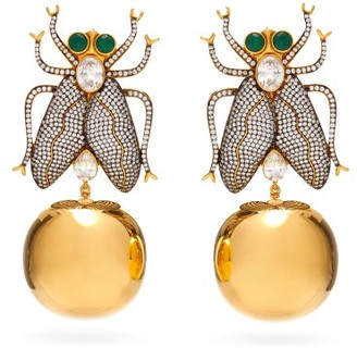 BEGÜM KHAN Fly Away Crystal & 24kt Gold-plated Clip Earrings - Womens - Gold