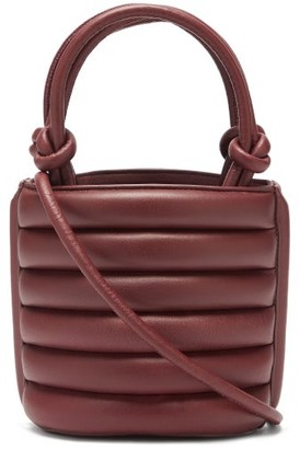 STAUD Louie Drawstring-top Quilted-leather Bag - Burgundy