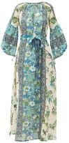 D'Ascoli Vista Belted Floral-print Cotton Dress - Womens - Blue Print