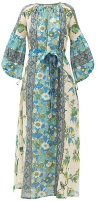 D'Ascoli Vista Belted Floral-print Cotton Dress - Womens - Blue Print