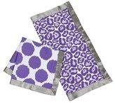 Bacati 2 Piece Ikat Muslin Security Blankets, Grey/Purple by