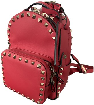 Valentino Rockstud spike Red Leather Backpacks