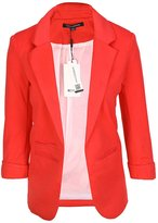 HaoDuoYi Womens Casual Work Office Boyfriend Open Front Blazer Jacket
