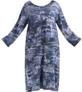 Denim Blue & White Abstract Zip-Pocket Shift Dress - Plus