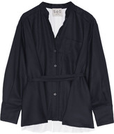 Sea Wool-piqué And Cotton-poplin Shirt - Navy