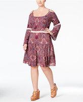 Love Squared Trendy Plus Size Printed Cold-Shoulder Peasant Dress