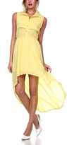 Stanzino Yellow Button-Up Hi-Low Maxi Dress