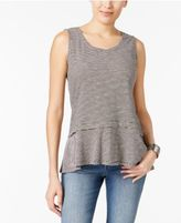 Style&Co. Style & Co Petite Cotton Striped Peplum Top, Only at Macy's