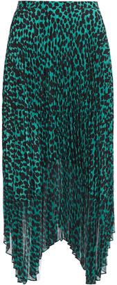 Markus Lupfer Lila Pleated Leopard-print Crepe De Chine And Chiffon Midi Skirt