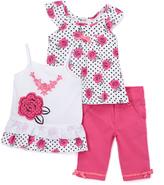 Children's Apparel Network Hot Pink & White Floral Angel-Sleeve Top Set - Toddler & Girls