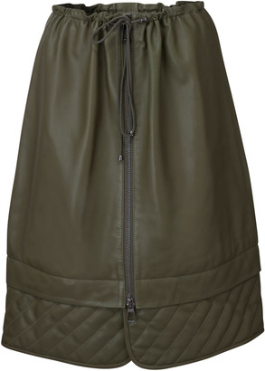 Dodo Bar Or Piki Quilt-Detailed Leather Drawstring Midi Skirt
