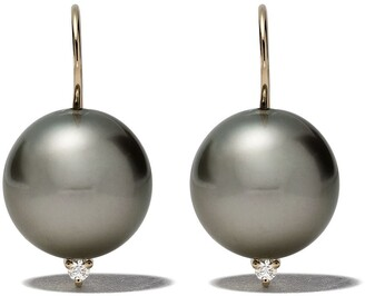 Mizuki 14kt Gold Diamond Pearl Earrings