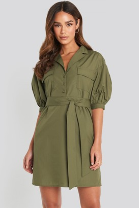 NA-KD Puff Sleeve Chest Pocket Mini Dress