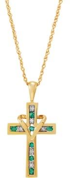 """Macy's Emerald (1/4 ct. t.w.) & Diamond (1/20 ct. t.w.) Cross & Heart 18"""" Pendant Necklace in 10k Gold"""