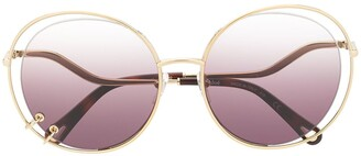 Chloé Oversized Wire Detail Sunglasses