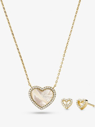 Michael Kors Precious Metal-Plated Sterling Silver and Pave Heart Necklace and Stud Earrings Set