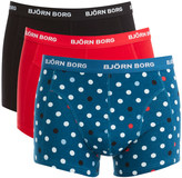 Bjorn Borg Men's 3 Pack Contrast Dot Detail Boxers