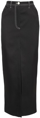 Sunnei High Waist Wool Blend Twill Skirt
