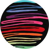 Bright Kids Paint Stroke Kids Round Rug, Black 120x120cm