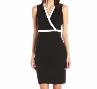 Calvin Klein Women's Sleeveless V-Neck Color Block Sheath Dress W/Back Zipper