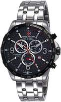 Swiss Military Men's Quartz Watch with Black Dial Chronograph Display and Silver Stainless Steel Bracelet 6-5251.33.001