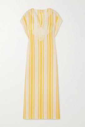 Tory Burch Awning Appliqued Striped Linen-gauze Kaftan - Yellow