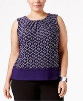 Calvin Klein Plus Size Pleat-Neck Shell