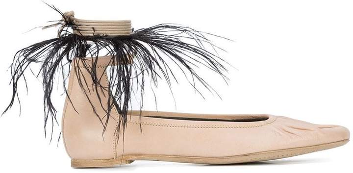 Ann Demeulemeester feather detail ballerinas