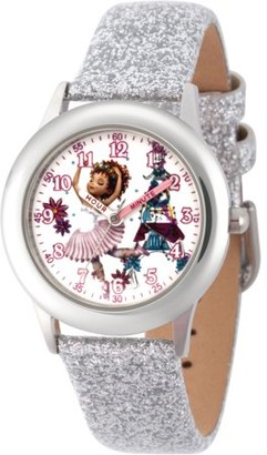 Disney Fancy Nancy Girls' Stainless Steel Time Teacher Watch, Silver Glitter Strap