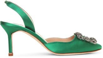 Manolo Blahnik Hangisli 70 emerald satin slingback pumps