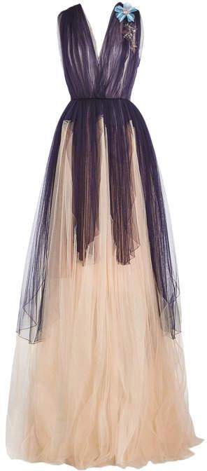 DELPOZO Floor Length Tulle Gown