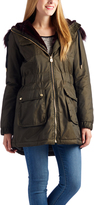 Laundry by Shelli Segal Olive Faux Fur-Trim Hooded Anorak