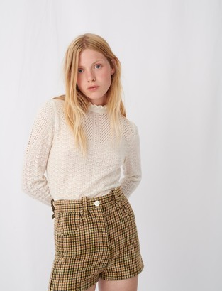 Maje Knitted sweater with ruffles
