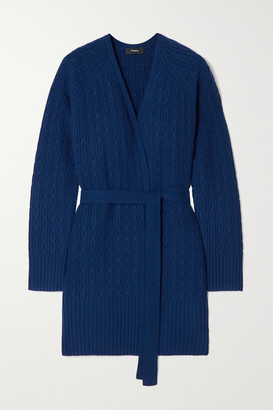 Theory Malinka Belted Cable-knit Cashmere Cardigan - Navy