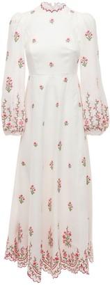 Zimmermann Poppy Floral Linen Canvas Midi Dress