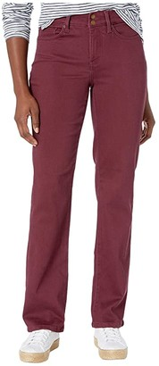 NYDJ Petite Petite Marilyn Straight Double Snap Waistband Sueded Sateen (Grenache) Women's Jeans