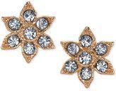 2028 Gold-Tone Crystal Flower Stud Earrings