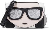 Karl Lagerfeld K/ikonic Glitter-embellished Textured-leather Shoulder Bag - Black