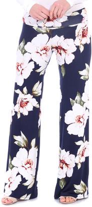 Brooke & Emma Women's Casual Pants ST84 - Blue Floral Palazzo Pants - Women & Plus