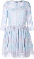 Carven lace trim pleated dress - women - Silk/Cotton/Nylon/Acetate - 36
