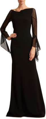 Roland Mouret Hafren Lace Bell-Sleeve Gown