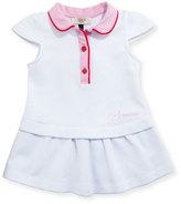 Armani Junior Cap-Sleeve Colorblock Stretch Pique Dress, White, Size 6-24 Months